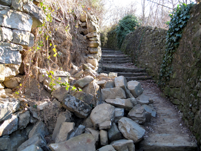 collapsed wall along the path to Prosecco